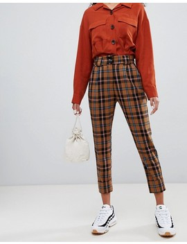 Bershka   Pantalon à Carreaux   Marron by Bershka