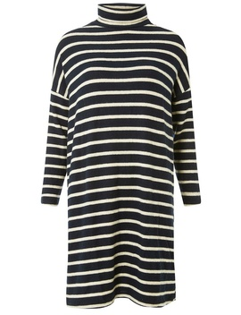 Navy Striped Brushed Knitted Dress by Dorothy Perkins