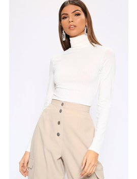 White Roll Neck Long Sleeve Jumbo Ribbed Top by I Saw It First