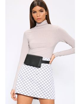 Grey Roll Neck Long Sleeve Jumbo Ribbed Top by I Saw It First