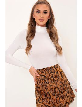 Cream Jersey Roll Neck Long Sleeve Bodysuit by I Saw It First