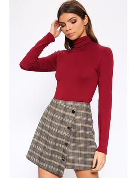 Burgundy Jersey Roll Neck Long Sleeve Bodysuit by I Saw It First