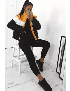 Black And Mustard Chevron Stripe Puffer Jacket by Lasula