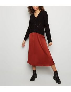 Rust Satin Midi Skirt by New Look
