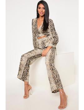 Brown Wide Leg Snake Trousers by I Saw It First