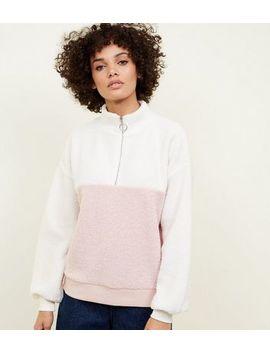 Pink Colour Block Borg Half Zip Sweatshirt by New Look