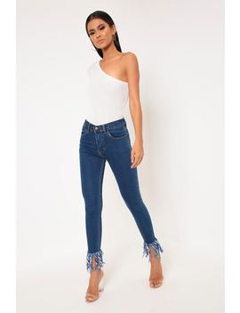 Mid Wash Frayed Hem Skinny Jeans by I Saw It First