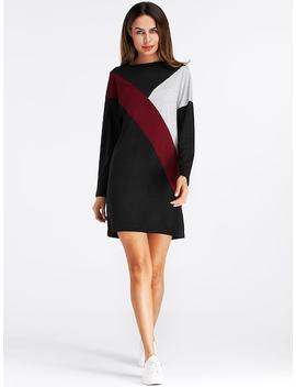 Cut And Sew Color Block Tee Dress by Sheinside