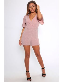 Rose Gold Metallic Wrap Front Playsuit by I Saw It First