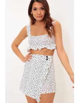 White & Black Polka Dot Print Skirt by I Saw It First