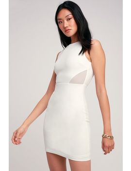 Party Talk White Mesh Cutout Bodycon Dress by Lulus