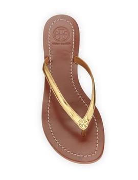 Metallic Gold New Logo Leather Thong Flats Flip Flops Sandals by Tory Burch
