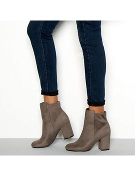 Faith   Grey Suedette 'winter' Block Heel Wide Fit Ankle Boots by Faith