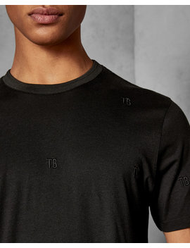 Branded Embroidered Cotton T Shirt by Ted Baker