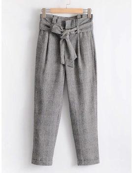 Frill Waist Self Tie Plaid Pants by Sheinside