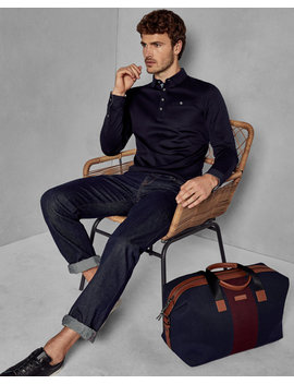 Long Sleeved Cotton Polo Shirt by Ted Baker
