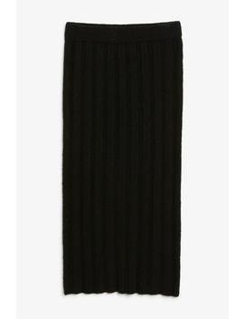 Ribbed Back Slit Skirt by Monki
