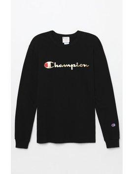 Champion Gold Script Long Sleeve T Shirt by Pacsun