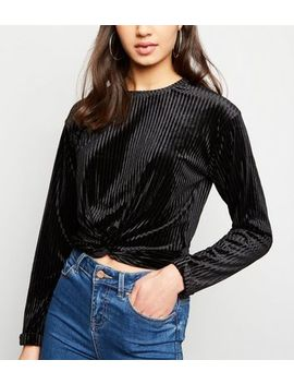 Black Ribbed Velvet Twist Front Top by New Look