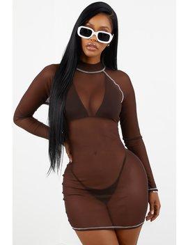 Contrast Stitch Mesh Dress   Chocolate Brown by Sorella
