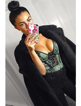 Khaki Snake Print Lace Panelled Bodysuit   Lenya by Rebellious Fashion