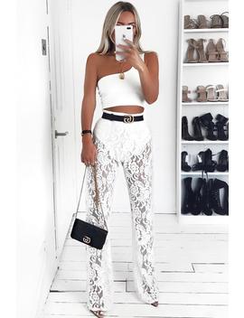 White Lace High Waist Wide Leg  Trousers   Irina by Rebellious Fashion