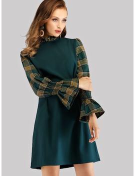 Plaid Panel Zip Back Dress by Sheinside