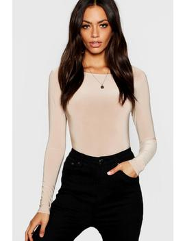 Slinky Round Neck Long Sleeve Top by Boohoo