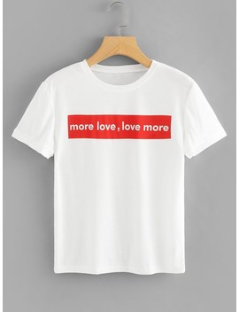 Letters Print Tee by Romwe