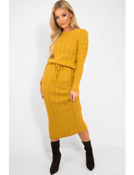 Mustard Cable Knit Drawstring Waist Dress   Rhea by Rebellious Fashion