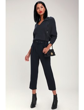 Power Moves Navy Blue Belted Trouser Pants by Lulus