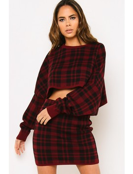 Wine Tartan Batwing Knitted Co Ord Set by Lasula