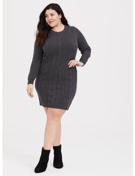 Grey Cable Knit Sweater Dress by Torrid