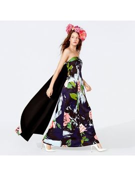 Richard Quinn   Blue Textured Floral Print Bandeau Full Length Evening Dress by Richard Quinn