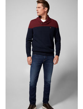 Colour Block Shawl Collar Jumper by Springfield