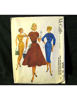 Vintage Sewing Pattern Shirt Dress Circle Slim Skirt 1950s Size 14 Mc Calls 3752 by Ebay Seller