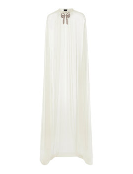 Embellished Bow Tulle Maxi Cape by Needle & Thread