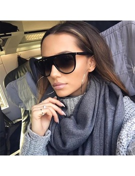 Thin Flat Top Sunglasses Women Luxury Brand Designer Retro Vintage Sun Glasses Female Kim Kardashian Sunglasses Clear Glass 0166 by Binyeae