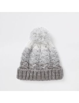 Grey Ombre Bobble Beanie Hat by River Island