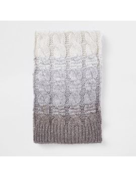 Grey Ombre Knit Scarf by River Island