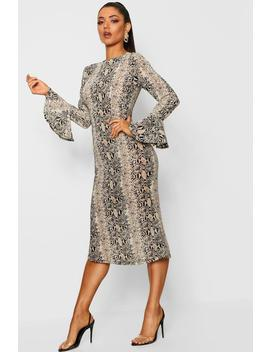 Snake Print Flared Sleeve Midi Dress by Boohoo
