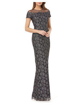 Jewel Neck Short Sleeve Metallic Chemical Lace Illusion Dress by Js Collections