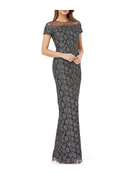 Lace Dress With Illusion Shoulder by Js Collections