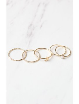 La Hearts Ring Stack Pack by Pacsun
