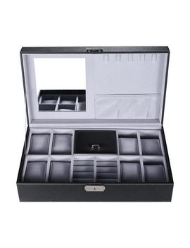 Black Leather Jewelry Box Watch Organizer Storage Case With Lock Mirror Sort Wise™ by Best Buy