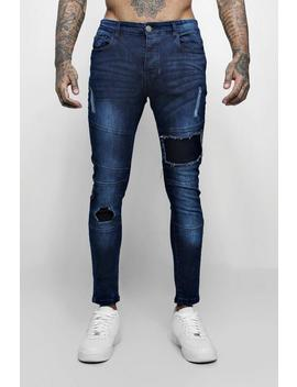 Super Skinny Jeans With Biker Panelling by Boohoo Man