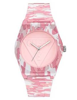 Pink Camo Print Analog Watch by Guess