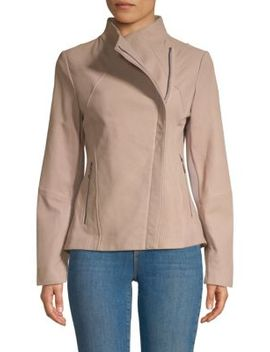 Kelly Asymmetric Leather Jacket by T Tahari