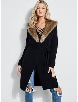 Sable Faux Fur Collar Cardigan by Guess