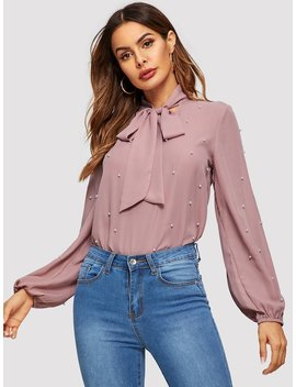 Tie Neck Pearls Beaded Blouse by Shein